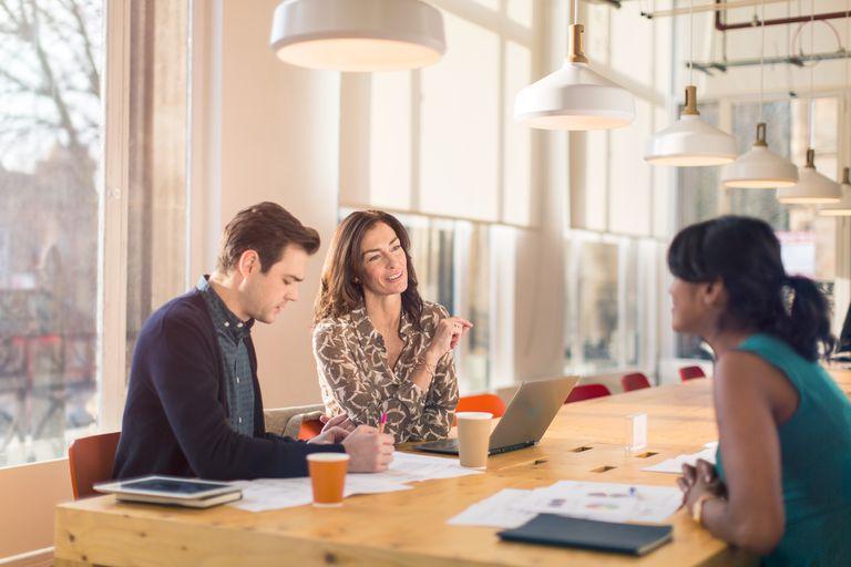 Employees in modern office