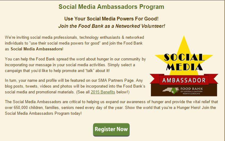 The social media ambassadors page at a food bank.