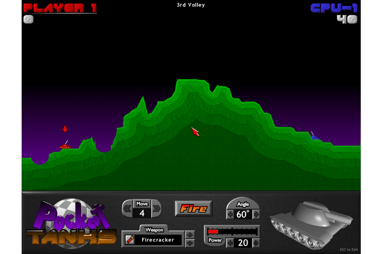 Screenshot of the Pocket Tanks game in Windows 8