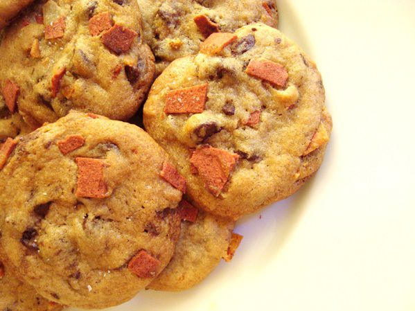 Vegan Chocolate Chip Bacon Cookies with Sea Salt