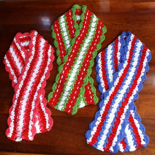 Holiday Crochet Scarf Designs - Valentine Scarf, Christmas Scarf, and Fourth of July Scarf