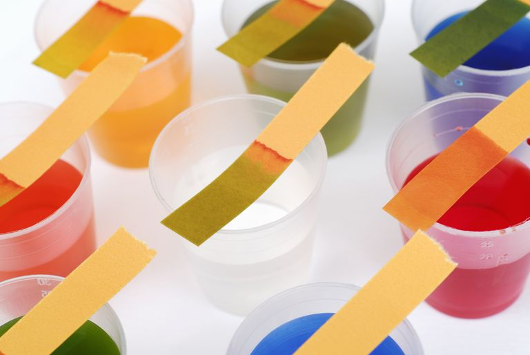 Litmus paper gives a rough estimate of pH, not a specific value like a calculation or pH meter.