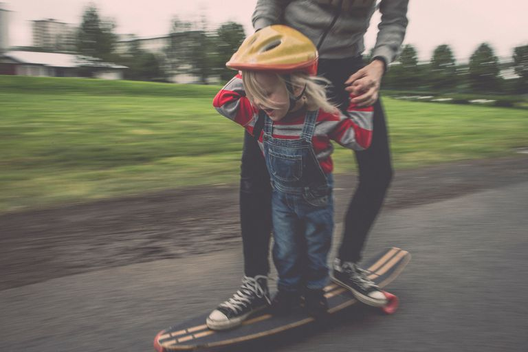 Father and Son on a Skateboard