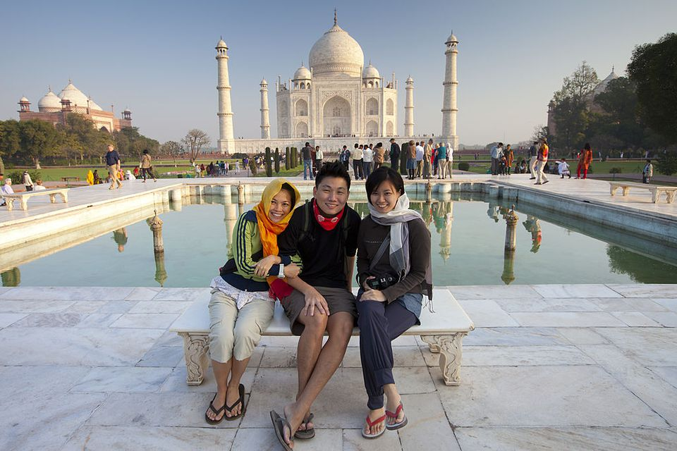 Tourists at the Taj Mahal.