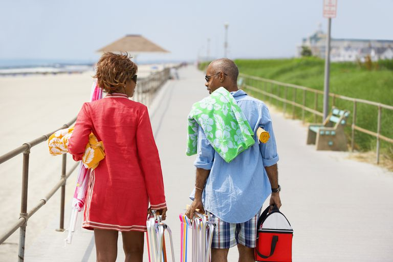 middle class couple at beach