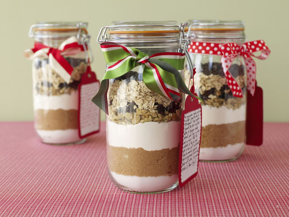 Holiday cookie fixings layered in jar