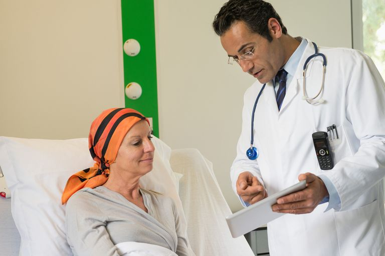 A doctor discusses a report with a patient.