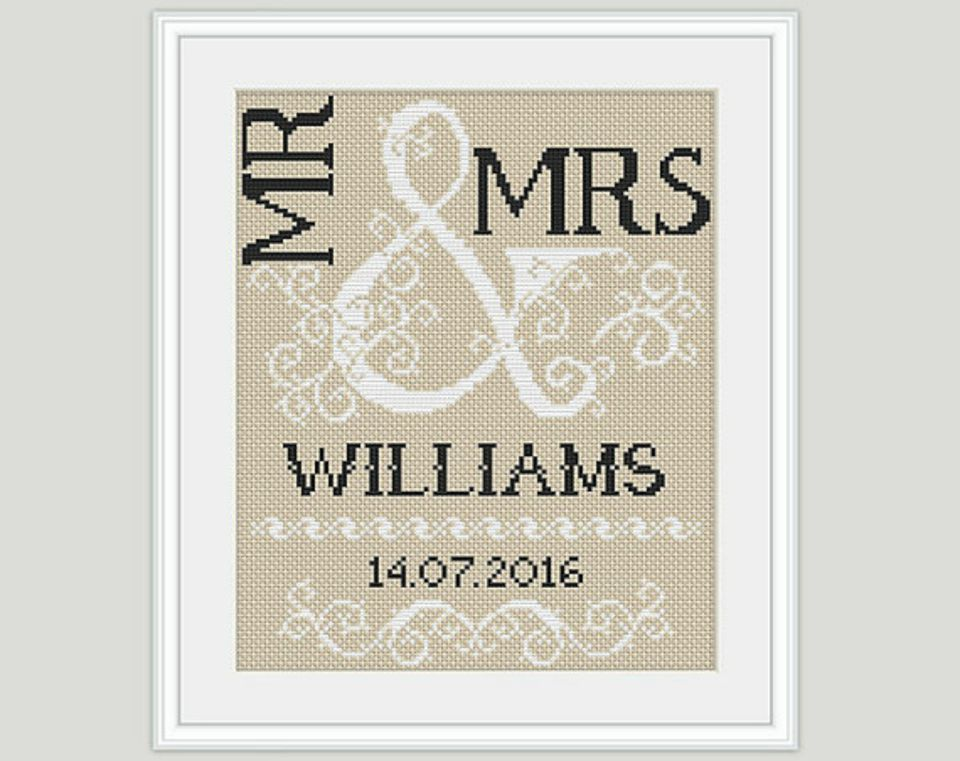 Mr. and Mrs. cross stitch