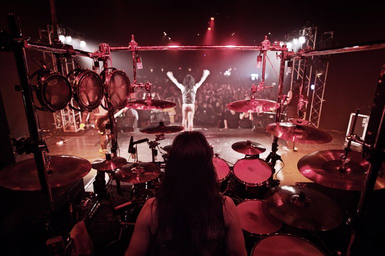 Rock concert from the drummer's perspective