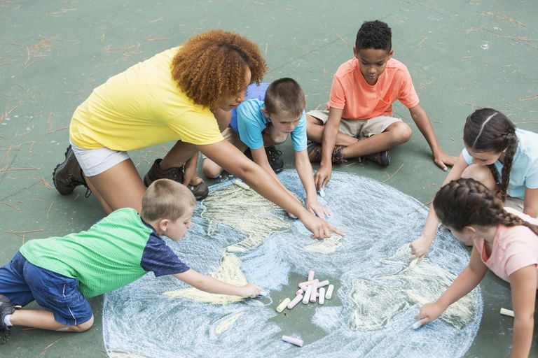 Camp counselor with children, chalk drawing of earth