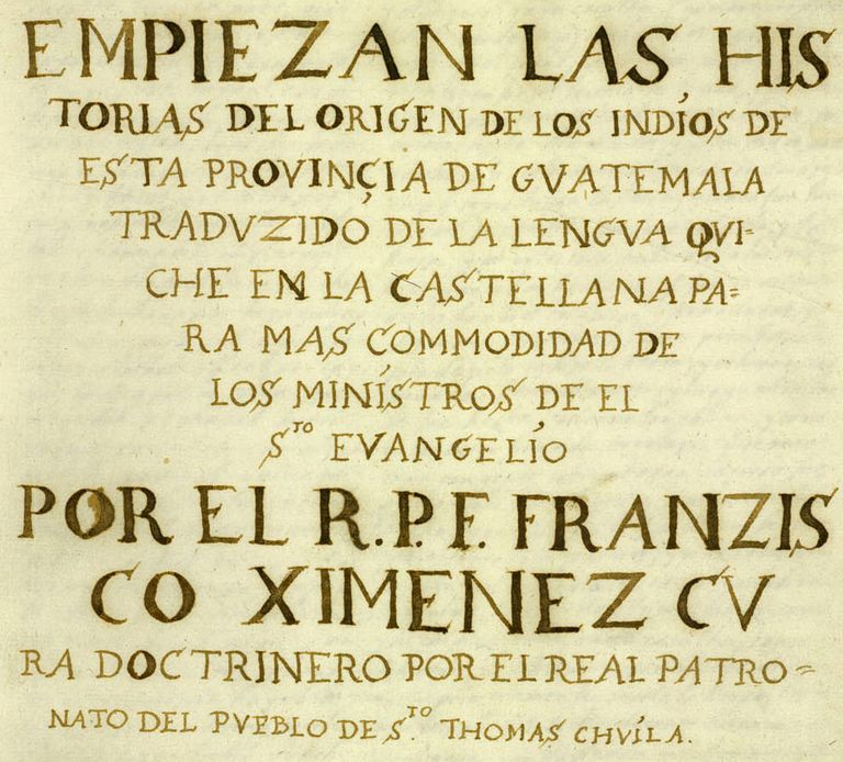 First Page of Spanish Translation of the Popol Vuh, ca 1700