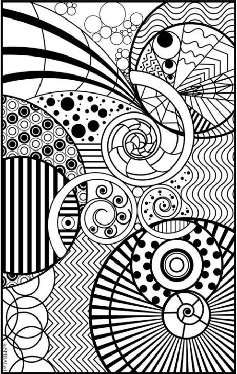 a coloring page full of different sizes of spirals