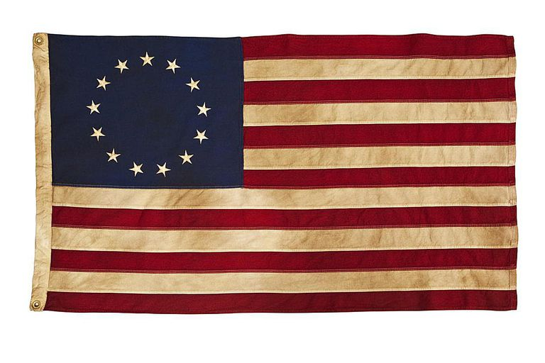 This American Colonial Flag, popularly attributed to Betsy Ross, was designed during the American Revolutionary War features 13 stars to represent the original 13 colonies. According to the legend, the original Betsy Ross flag was made on July 4, 1776
