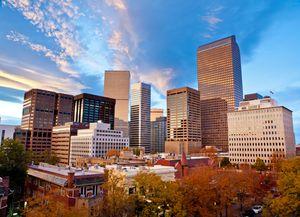 Autumn Sunset Over the Downtown Denver Skyline