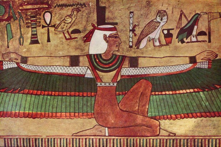 Pintura de la diosa Isis con alas encontrada en una tumba del Valle de los Muertos. Isis le dio vida a Osiris con sus alas