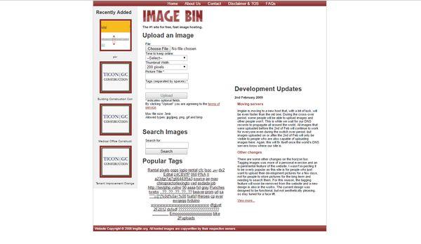 The upload options at Image Bin