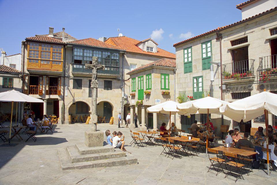 Square with Typical Galician Cruceiro (Cross), Pontevedra, Galicia, Spain