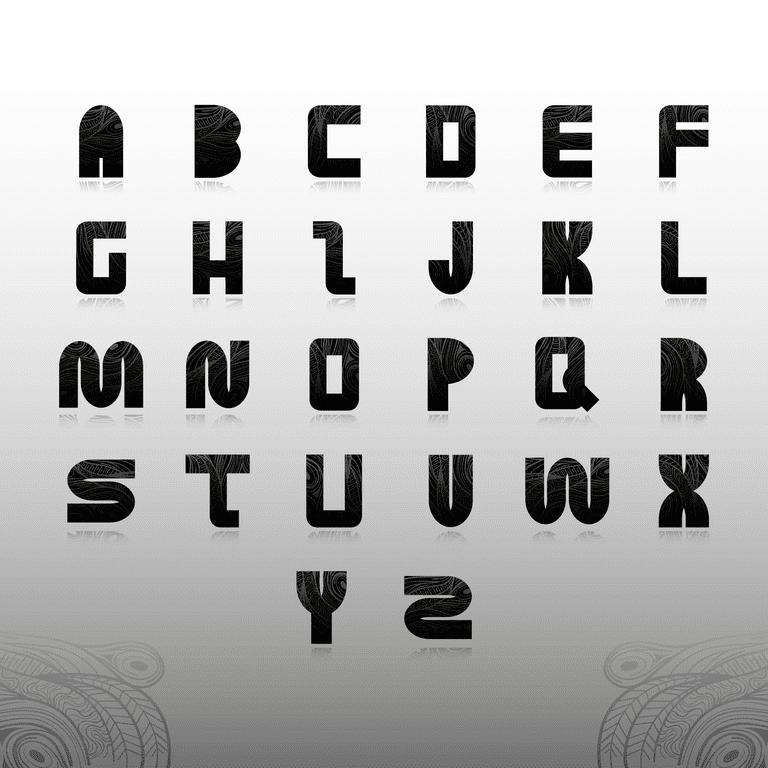 Alphabet set in decorative style