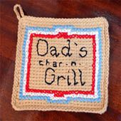 Dad's Char 'n- Grill Potholder Crocheted in Afghan Stitch
