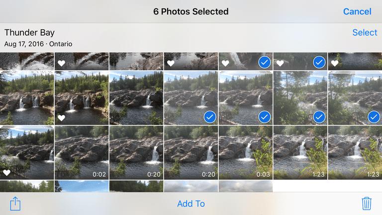 Six photos are selected in the iOS 10 Photos app.