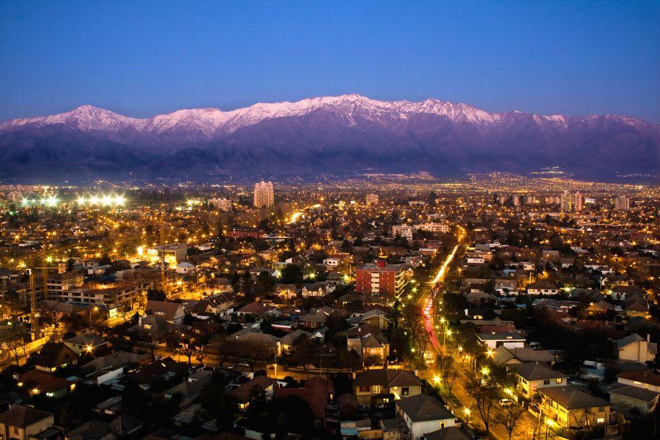 View over Santiago de Chile at dusk