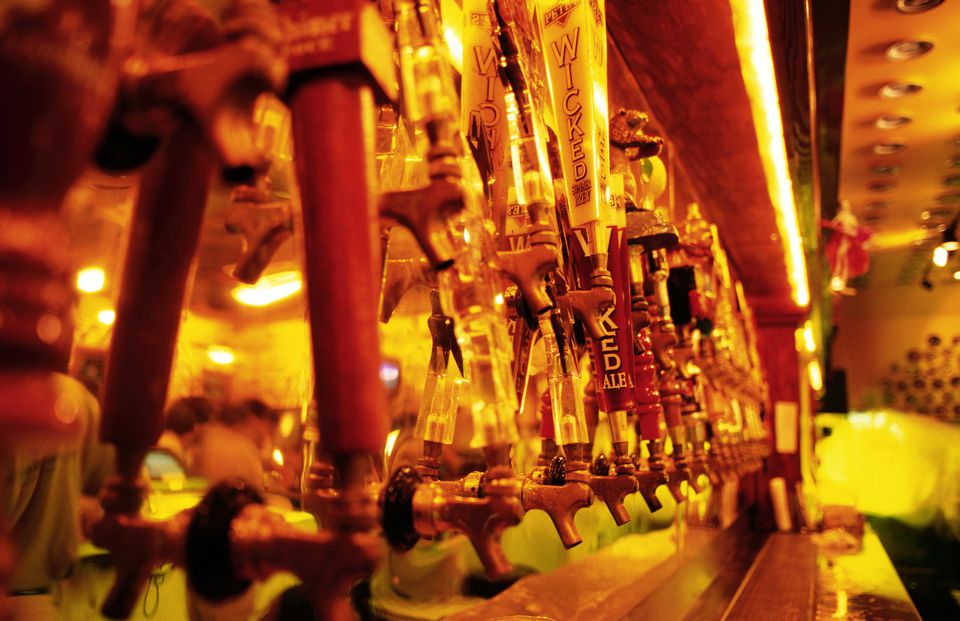 Line up of Beer taps