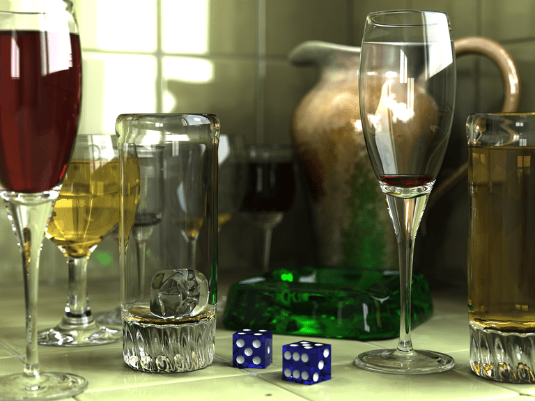 Realistic 3d model of glasses, an ashtray and a pitcher