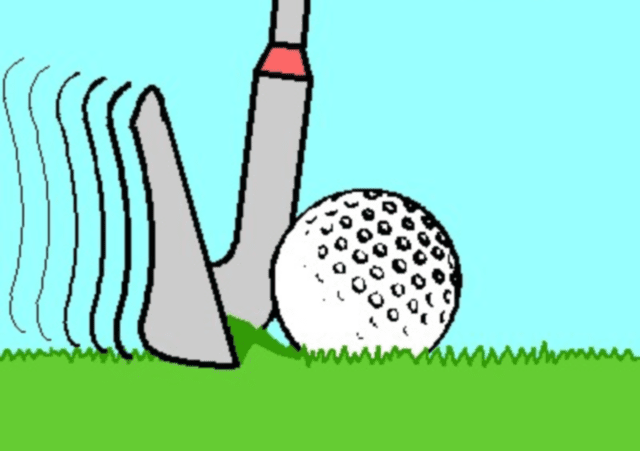 Illustration of a fat shot in golf