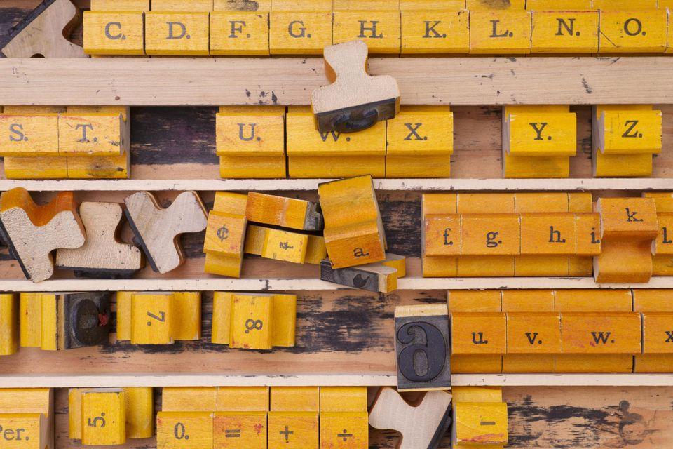 Antique Letter Number Stamp Blocks