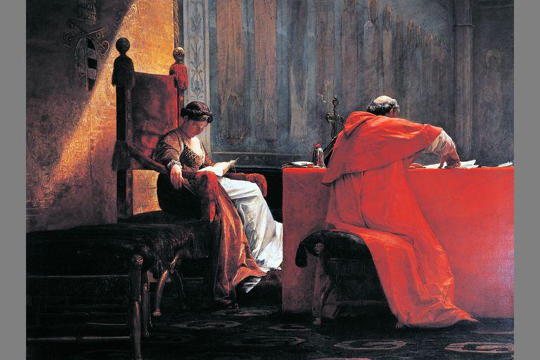 Lucrezia Borgia with her father Pope Alexander VI
