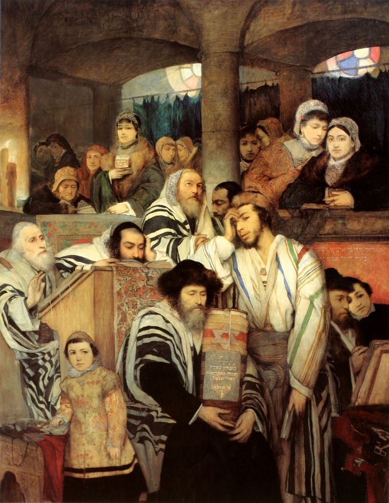 Jews praying in the synagogue on Yom Kippur by Mayurycy Gottlieb.