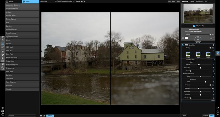 Image shows Effects 10 interface and Before and After views of the Tilt-shift effect.