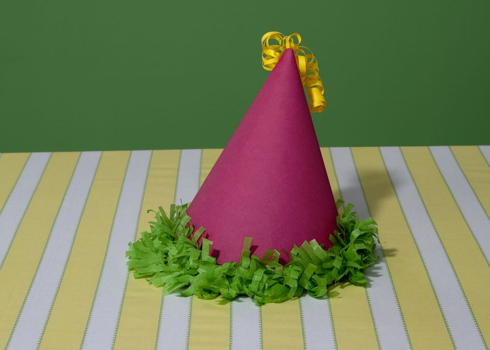 Magenta cone birthday hat