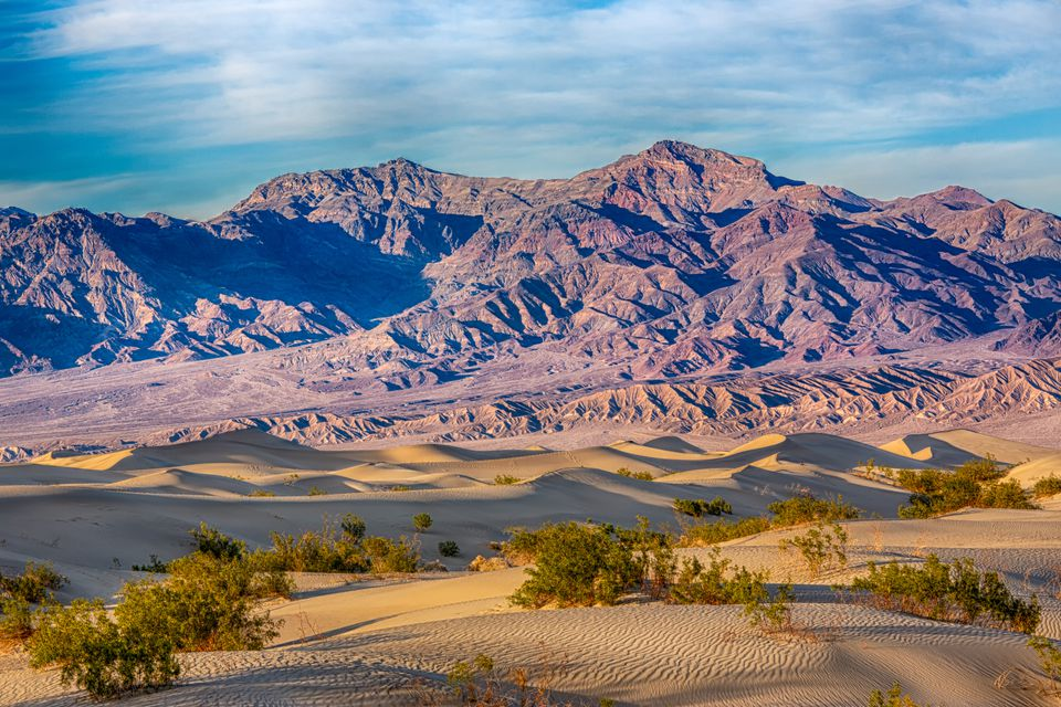 Death Valley mountains and sand dunes
