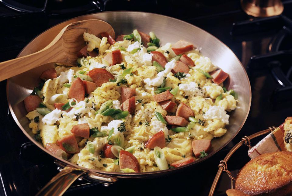 Egg scramble in a skillet