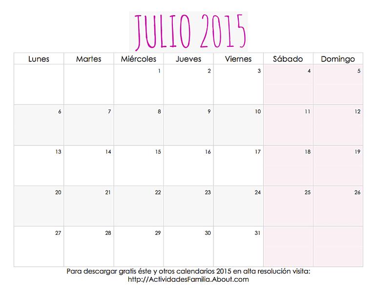 Calendario de celebraciones en Julio 2015