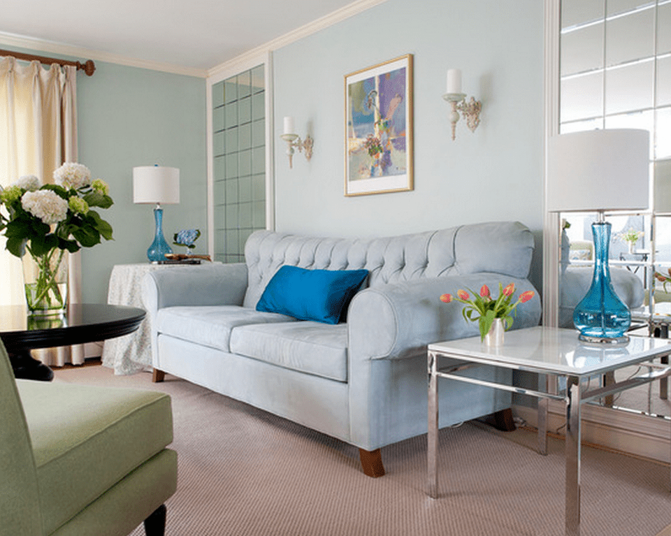 Light Blue Walls And Sofa