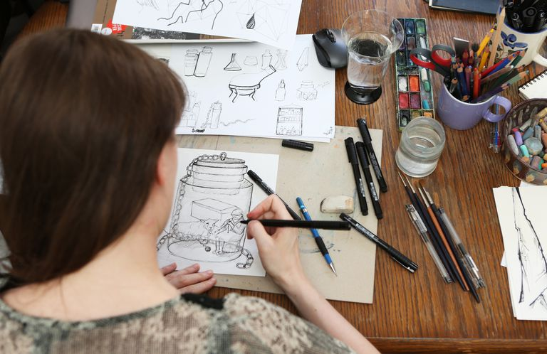 View of an young illustrator working