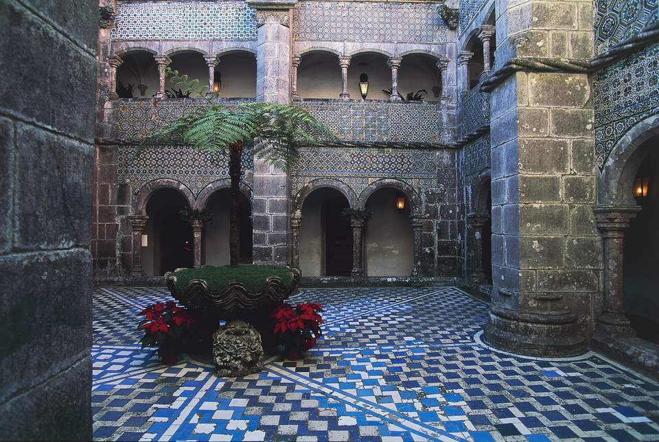 Cloister in Pena National Palace, Sintra (UNESCO World Heritage List, 1995), Portugal, 19th century