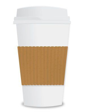 Cup of coffee which contains caffeine.