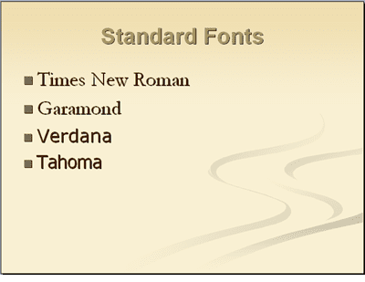 "standard font for college essays For academic papers, an ""easily readable typeface"" means a serif font, and a ""standard"" type size is between 10 and 12 point use a serif font serifs are the tiny strokes at the end of a letter's main strokes."