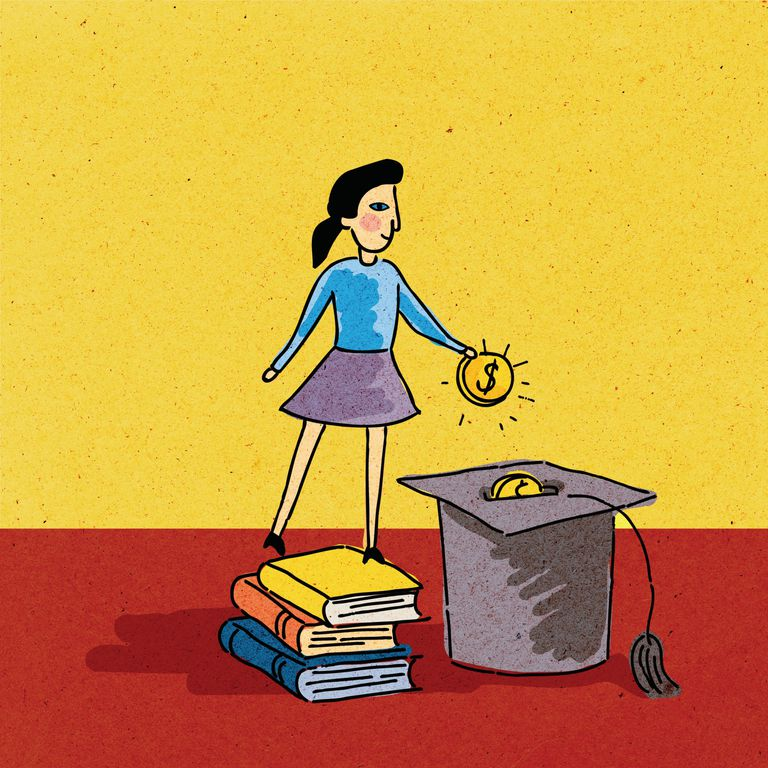 Girl standing on a stack of books, putting money into a graduation cap
