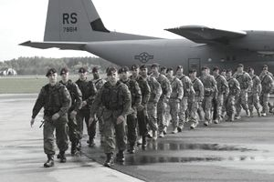 soldiers in line on tarmac