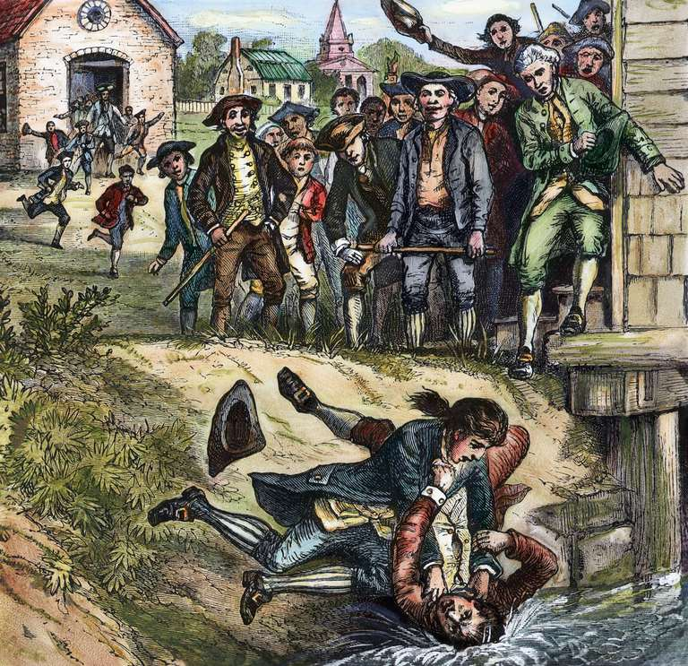 Engraving of a fight between a protestor and a tax collector during Shays' Rebellion of 1786