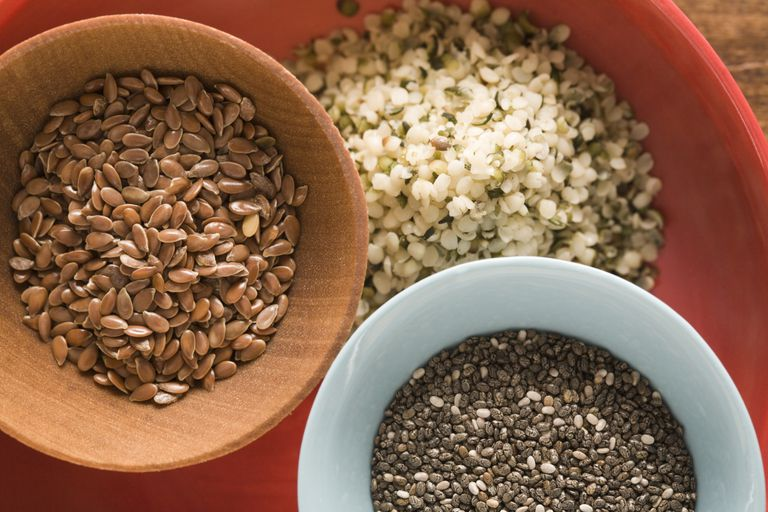 Hemp, chia and flax seeds are high in omega-3 fatty acids.
