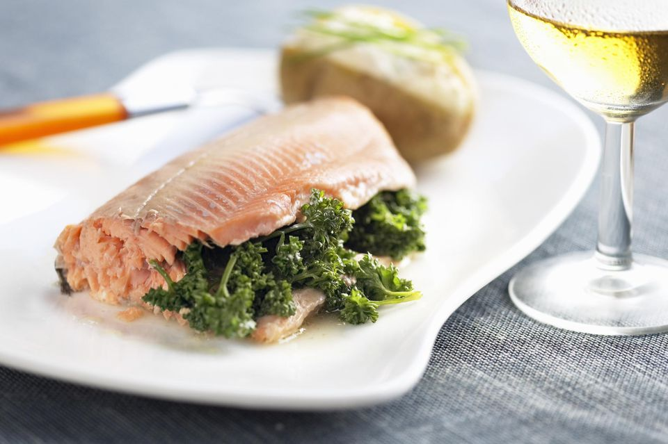 Poached salmon with parsley