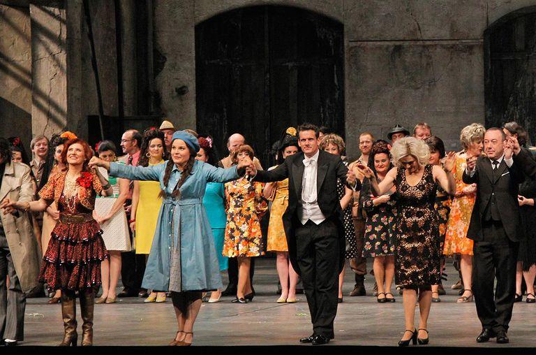 Louise Callinan, Genia Kuhmeier, Philippe Jordan, Anna Caterina Antonacci, and Philippe Faure acknowledge applause during the Arop Gala event for Carmen new production.