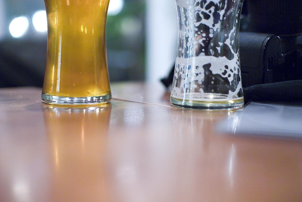 Glass of beer, full and empty