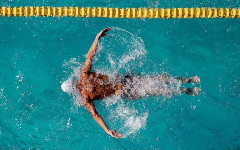 Swimmer doing butterfly stroke