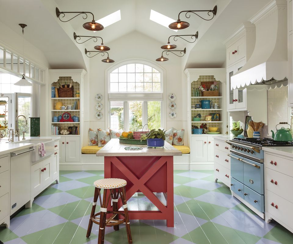 colorful stenciled kitchen floor